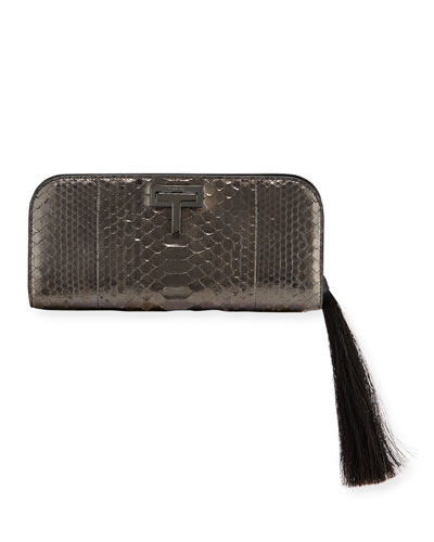 T-Lock Medium Python Clutch Bag with Ruthenium-Tone Hardware