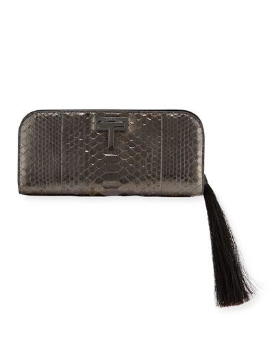 T-Lock Medium Python Clutch Bag with Ruthenium-Tone Hardware