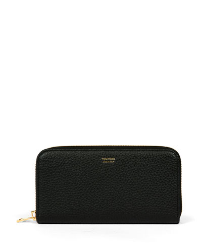 Grained Calfskin Zip Wallet, Black