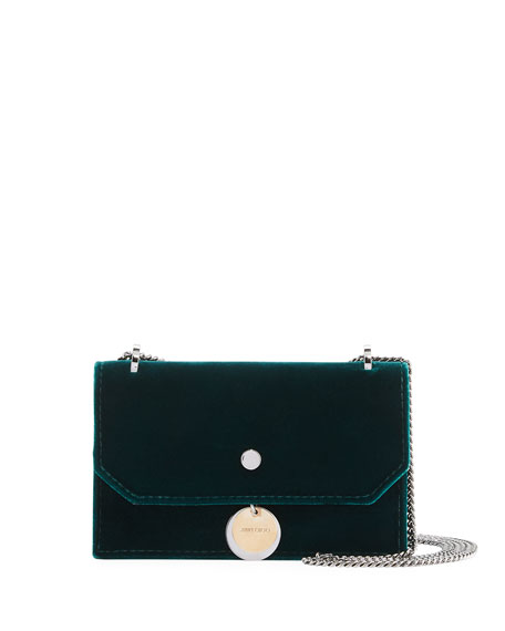 Jimmy Choo Finley Velvet Crossbody Clutch Bag