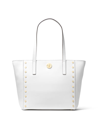 Rivington Medium Studded Tote Bag, Optic White