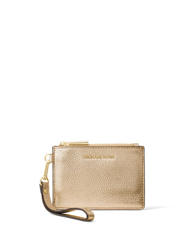 Mercer Small Metallic Coin Purse, Pale Gold