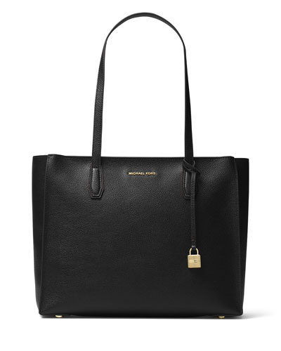 Mercer Large Leather Tote Bag, Black