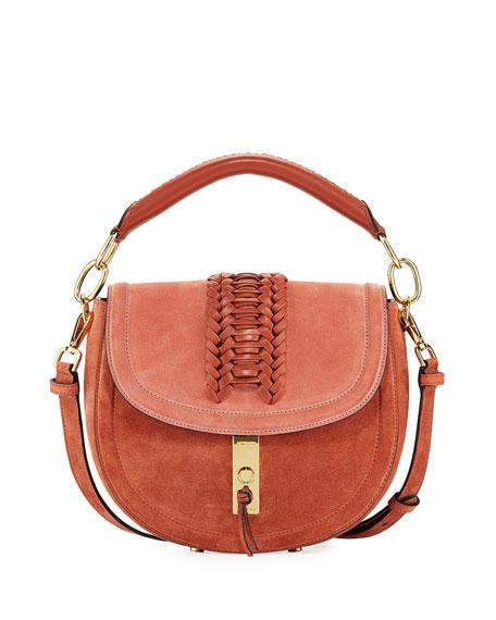 Ghianda Suede Top-Handle Saddle Bag