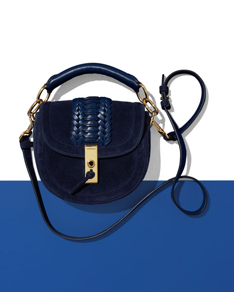 Mini Braided Top-Handle Saddle Bag, Blue