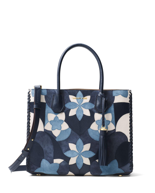 c2b92be88863a MICHAEL Michael KorsMercer Large Convertible Floral Patchwork Tote Bag