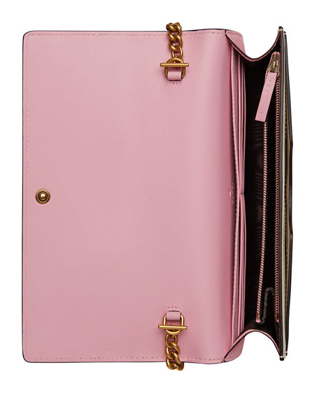 Queen Margaret Bee Colorblock Wallet-on-Chain, Hibiscus Red/Light Pink/White