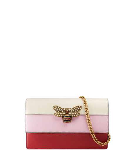 Gucci Bee Colorblock Wallet-on-Chain, Hibiscus Red/Light Pink/White