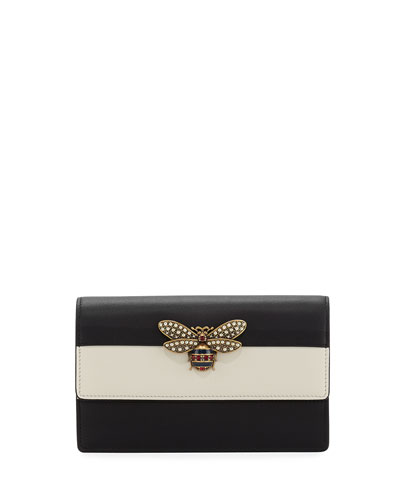 Fly Striped Leather Wallet on a Chain