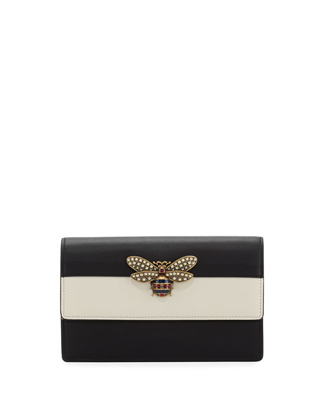 Gucci Fly Striped Leather Wallet on a Chain