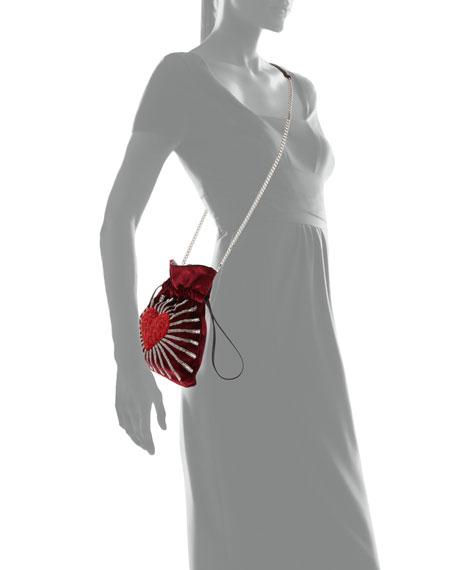 Trilly Heart Velvet Shoulder Bag
