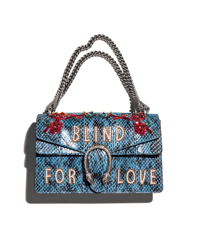 Gucci Dionysus Small Blind For Love Shoulder Bag, Marine Blue