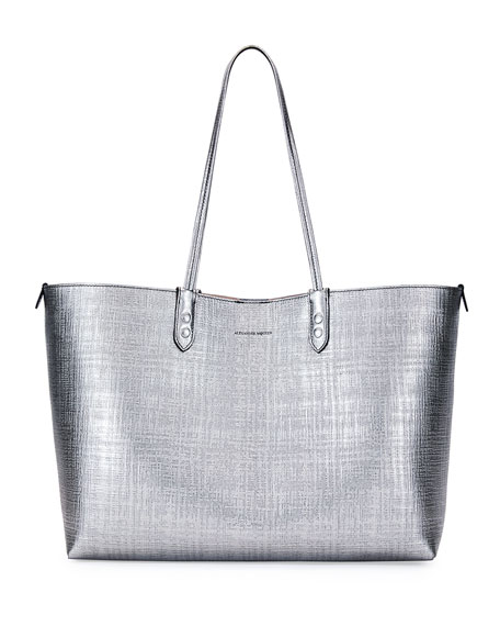 Lino Medium Leather Tote Bag, Gray Metallic
