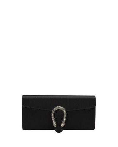 Dionysus Small Satin Clutch Bag, Black