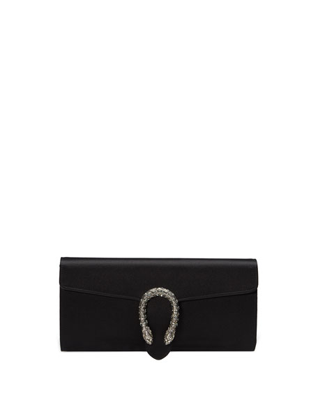 Gucci Dionysus Small Satin Clutch Bag, Black | Neiman Marcus
