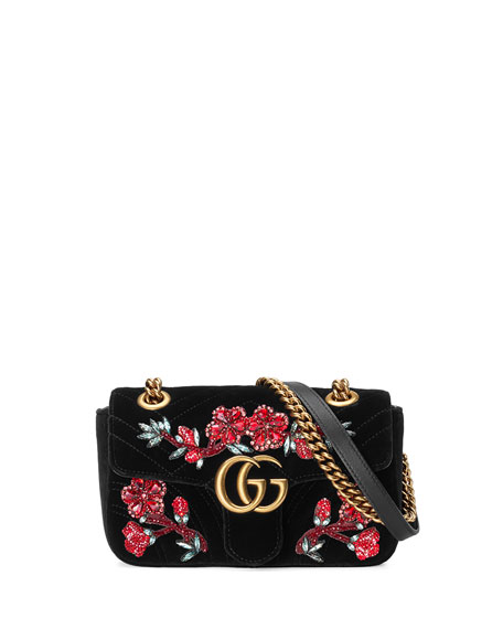 Gg Marmont Small Crystal-Embellished Velvet Shoulder Bag in Black