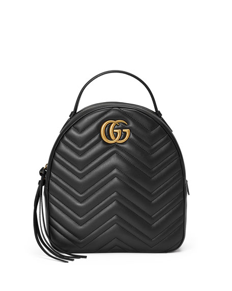 Gg Marmont 2.0 Matelasse Quilted Velvet Backpack - Black, Black Quilted Leather