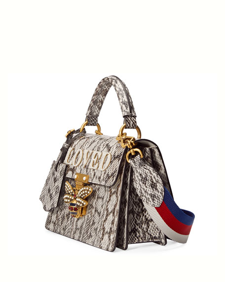 Queen Margaret Small Snakeskin Top-Handle Bag, Roccia Natural