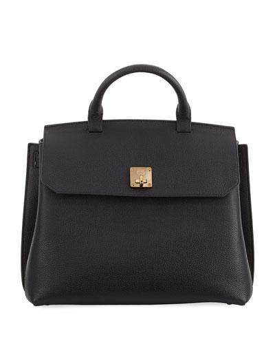 Milla Pebbled Leather Turn-Lock Top-Handle Bag