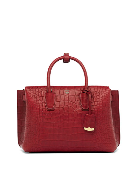 MCM Milla Large Crocodile-Embossed Tote Bag, Ruby Tan