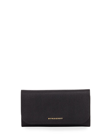 Burberry Kenton Soft Grain Leather Tri-Fold Wallet, Black