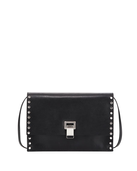 Extra Small Studded Leather Lunch Bag-on-a-Strap, Black