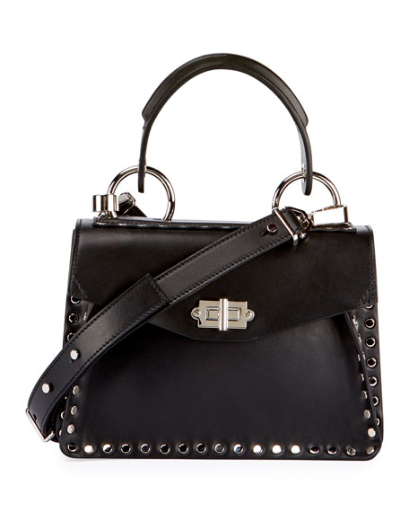 Proenza Schouler Hava Small Studded Top-Handle Bag, Black