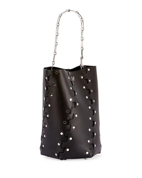 Hex Medium Studded Leather Bucket Bag, Black