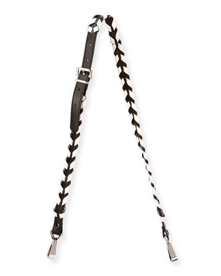 Whipstitched Leather Strap for Handbag, Black/White