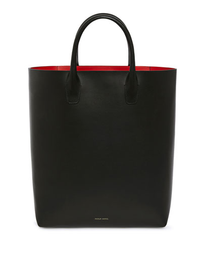 North-South Vegetable-Tanned Leather Tote Bag