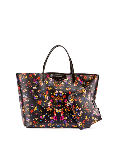 Givenchy Antigona Large Pansy-Print Shopper Tote Bag