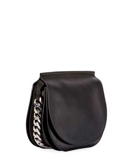 Infinity Chain-Trim Saddle Bag, Black