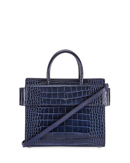 Horizon Mini Alligator Tote Bag, Dark Blue
