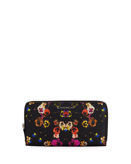 Givenchy Pansies Coated Canvas Zip Wallet, Multi