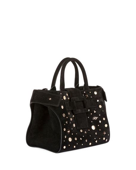 Cabas Small Studded Top Handle Bag, Black
