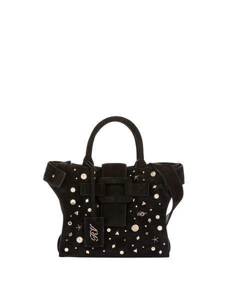 Cabas Small Studded Top Handle Bag, Black