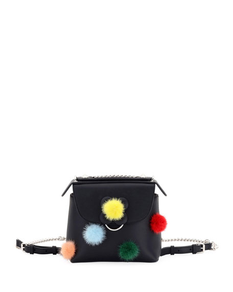 Fendi Back to School Mini Mink Pompom Backpack/Crossbody