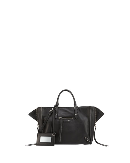 Balenciaga Papier A6 Zip Around Tote Bag, Black
