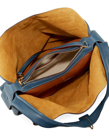 Glove-Tanned Pebbled Leather Hobo Bag, Blue