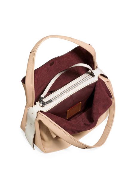 Pebbled Leather Hobo Bag, Tan