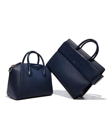 Antigona Small Leather Satchel Bag, Dark Blue