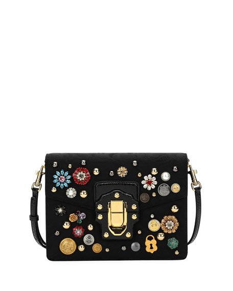 Dolce & Gabbana Lucia Embellished Velvet Shoulder Bag