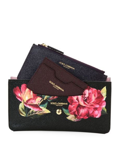 Floral Saffiano Continental Wallet, Black