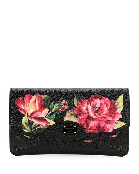 Dolce & Gabbana Floral Saffiano Continental Wallet, Black