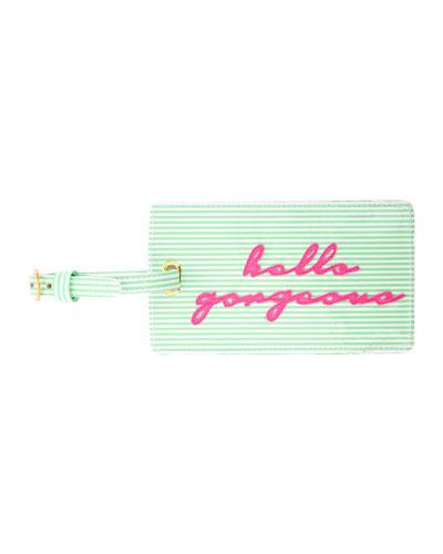 Hello Gorgeous Luggage Tag, Green/Multi