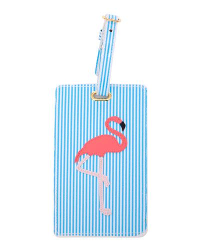 Flamingo Luggage Tag, Blue/Multi