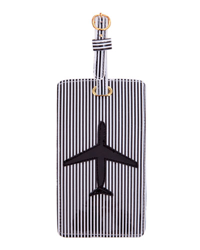 Airplane Luggage Tag, Black/White