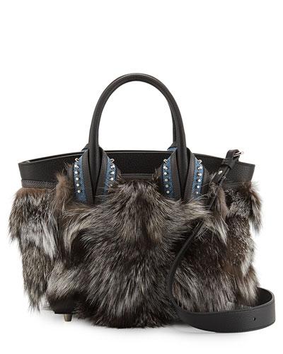 Eloise Glitter-Trimmed Fox Fur Tote Bag, Gray Pattern