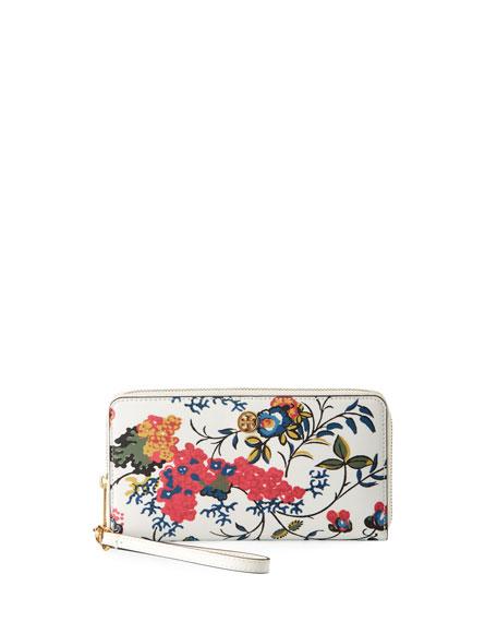 Tory Burch Parker Floral Zip Continental Wallet