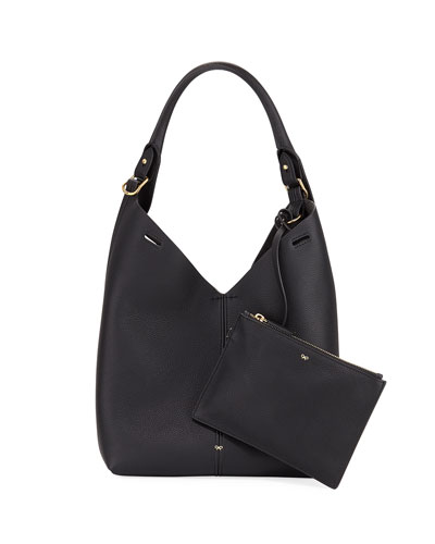 The Bucket Small Circle Hobo Bag, Black